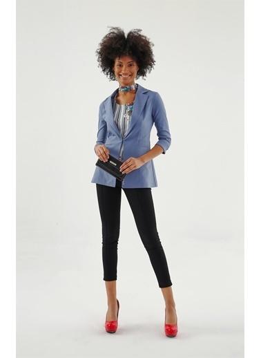 Jument Ashley Ceket Yakalı Capri Kol Ceket Mavi